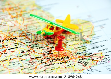 flight to   London ,United Kingdom  map airplane  and  red pin -  Travel concept - stock photo