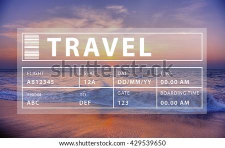 Flight Travel Vacation Holiday Destination Concept - stock photo