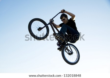 Flight with a sports bike in the sky.
