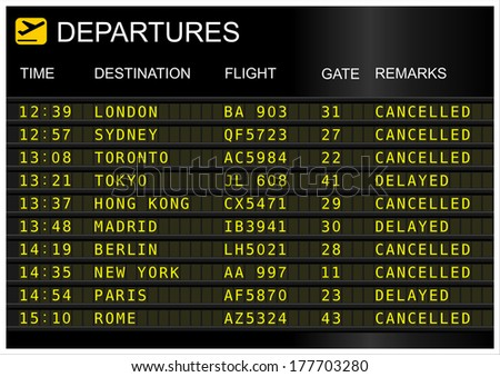 Flights departures board isolated on white background - stock photo