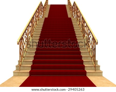 Flights of stairs with railings and carpet - stock photo