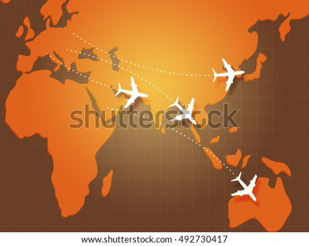 Flights to Asia on Map