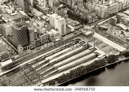 Flinders Station aerial view, Melbourne. - stock photo