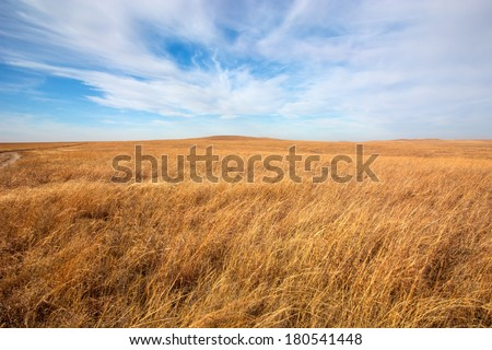 Flint Hills tallgrass prairie in Kansas. - stock photo
