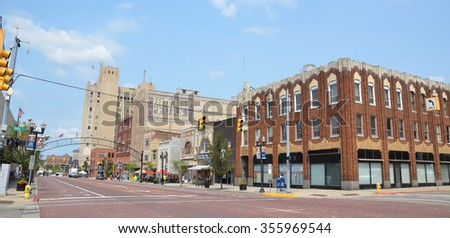FLINT, MI - AUGUST 22: Flint, MI, whose downtown is shown here on August 22, 2015, recently elected Dr. Karen Weaver as their first female mayor. - stock photo