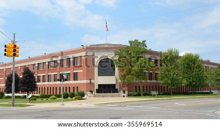 FLINT, MI - AUGUST 22: The Academic Building of Kettering University, shown here on August 22, 2015, houses the McKinnon Theater and various academic offices.  - stock photo
