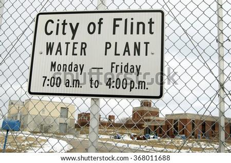 FLINT, MICHIGAN January 23, 2016: City Of Flint Water Plant Sign In Flint, January 23, 2016, Flint, Michigan - stock photo