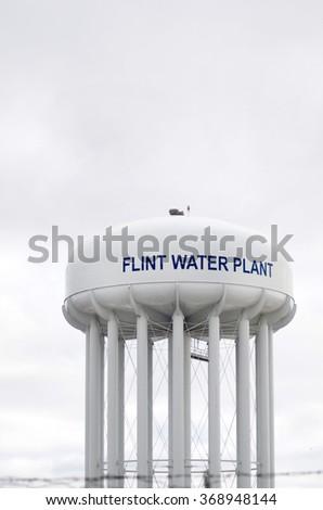 FLINT MICHIGAN, January 23, 2016: Flint Water Plant Tower, January 23, 2016, Flint, Michigan. - stock photo