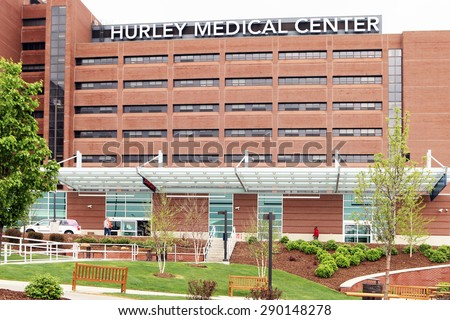 FLINT, MICHIGAN-JUNE, 2015:  Hurley Medical Center is a trauma center and one of central Michigan's largest hospitals and nursing schools. - stock photo