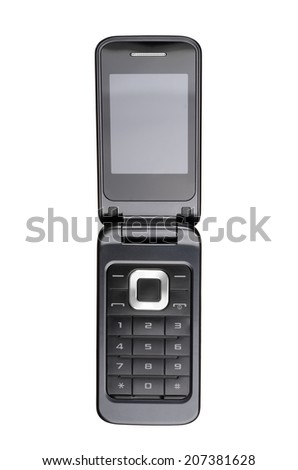 Flip cell phone isolated on white background. With clipping path - stock photo