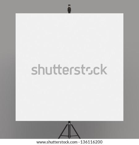 flip chart on tripod on white background - stock photo