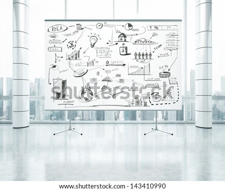 flip chart with business strategy - stock photo
