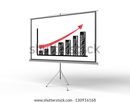 flip chart with chart on a white background - stock photo