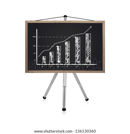 flip chart with drawing business chart - stock photo
