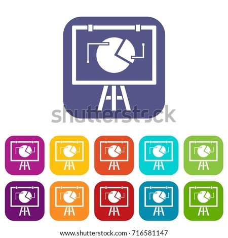 Flip chart with statistics icons set  illustration in flat style in colors red, blue, green, and other