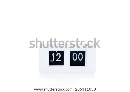 Flip clock show at 12 a.m - stock photo