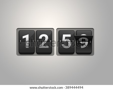Flip clock show 12:59 on black background. New year countdown.