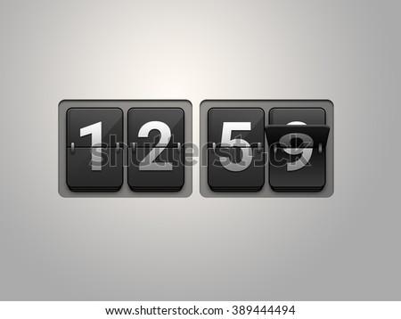 Flip clock show 12:59 on black background. New year countdown. - stock photo