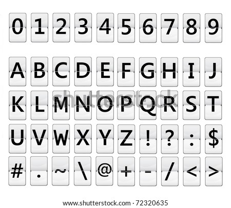 flip display with alphabet and numbers - stock photo