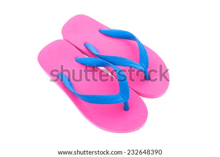 Flip flop isolated on white background - stock photo