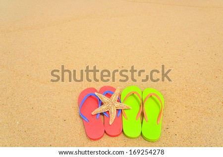 Flip-flops and starfish on sandy beach -- Vacation Concept  - stock photo