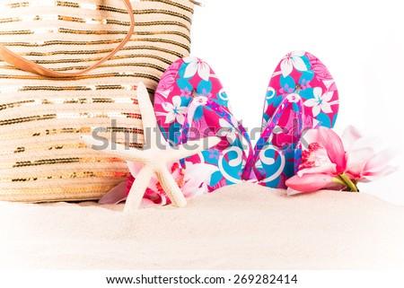 flip-flops, summer accessories - stock photo