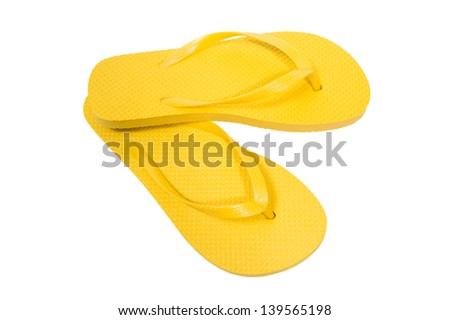Flip Flops Yellow On White Background/ Horizontal Shot/ Summertime Fun - stock photo