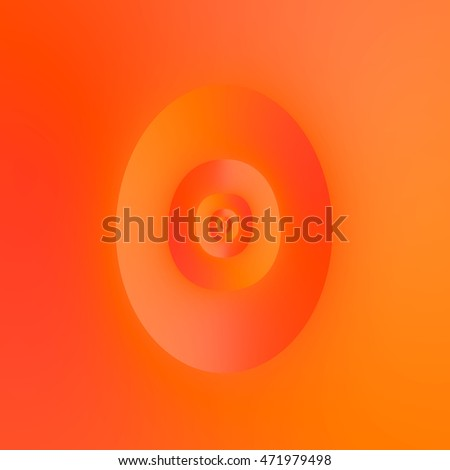 Flip in Orange and Red / An abstract fractal image with an oval brain flipping optical illusion in orange and red