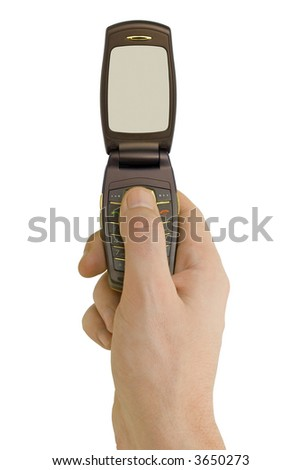 Flip phone in hand, isolated on white background - stock photo