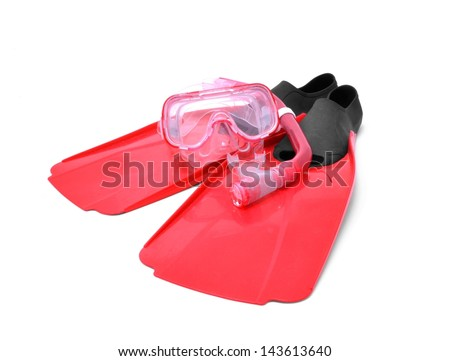 Flippers, glasses and snorkel - stock photo