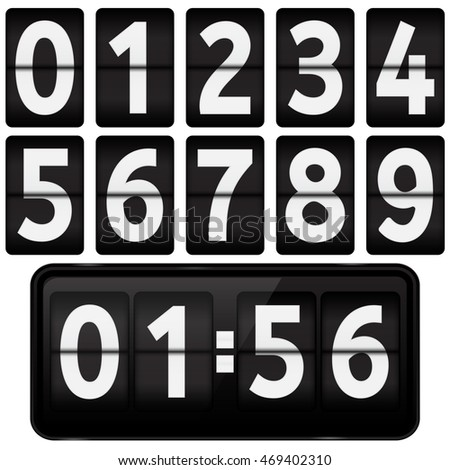 Flipping numbers. Illustration isolated on white background. Raster version