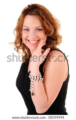 Flirting woman in black dress isolated on white background