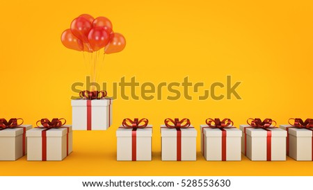 floating balloons attached to a present. balloon with gift box. 3d rendering