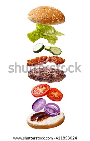 floating big bacon barbecue burger components white background - stock photo