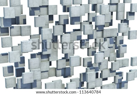 Floating concrete cubes forms an abstract perforated wall - stock photo