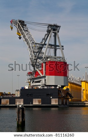 Floating Crane at Construction Site