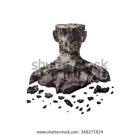 floating Double Exposure of silhouette and falling rocks - stock photo