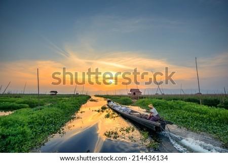 Floating garden in Inle Lake, Myanmar, Burma - stock photo