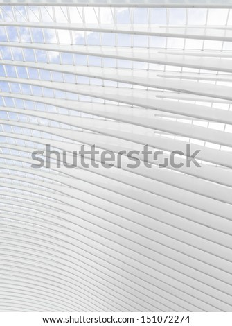 Floating glass and steel roof structure - stock photo