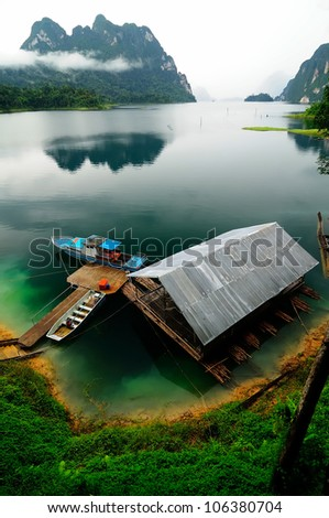 Floating home at Khao Sok Lake - stock photo
