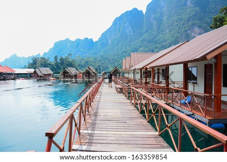 floating home ,Cheow Lan lake, Khao Sok National Park, Thailand