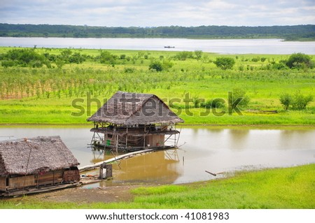 Floating house in the amazon basin - stock photo