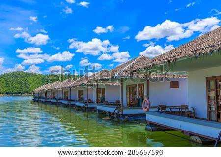 Floating house on the Srinakrarin Dam in Kanchanaburi Province of Thailand