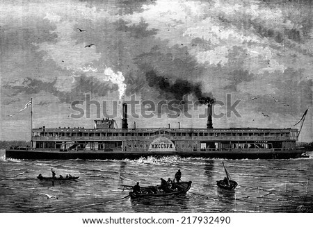 Floating houses. The Steamship Russian MNCCYPN, vintage engraved illustration. Journal des Voyages, Travel Journal, (1880-81). - stock photo