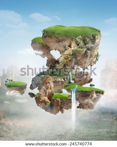 floating island - stock photo