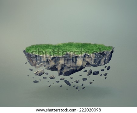Floating Island with crumbling rocks