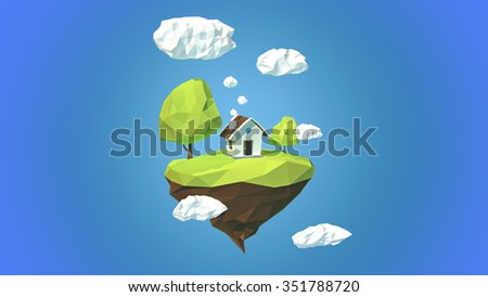 Floating island with house and clouds in the sky