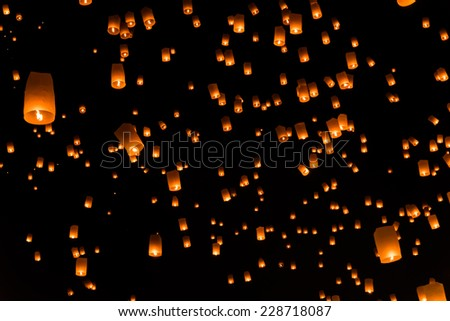 Floating lantern in Thailand