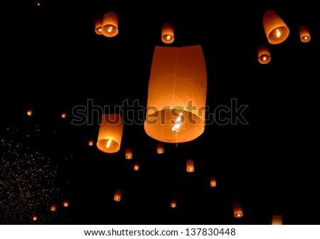 Floating lantern, Yi Peng Balloon Festival in Chiangmai, Thailand - stock photo