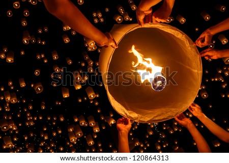 Floating lantern, Yi Peng,Firework Festival in Chiangmai Thailand
